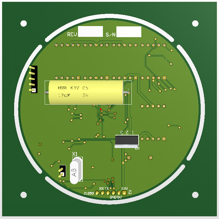 Content: PCB Back side Harley tachometer. Source: Momex.cat