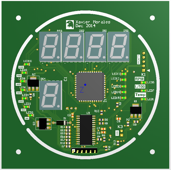Content: PCB Front side Harley tachometer. Source: Momex.cat