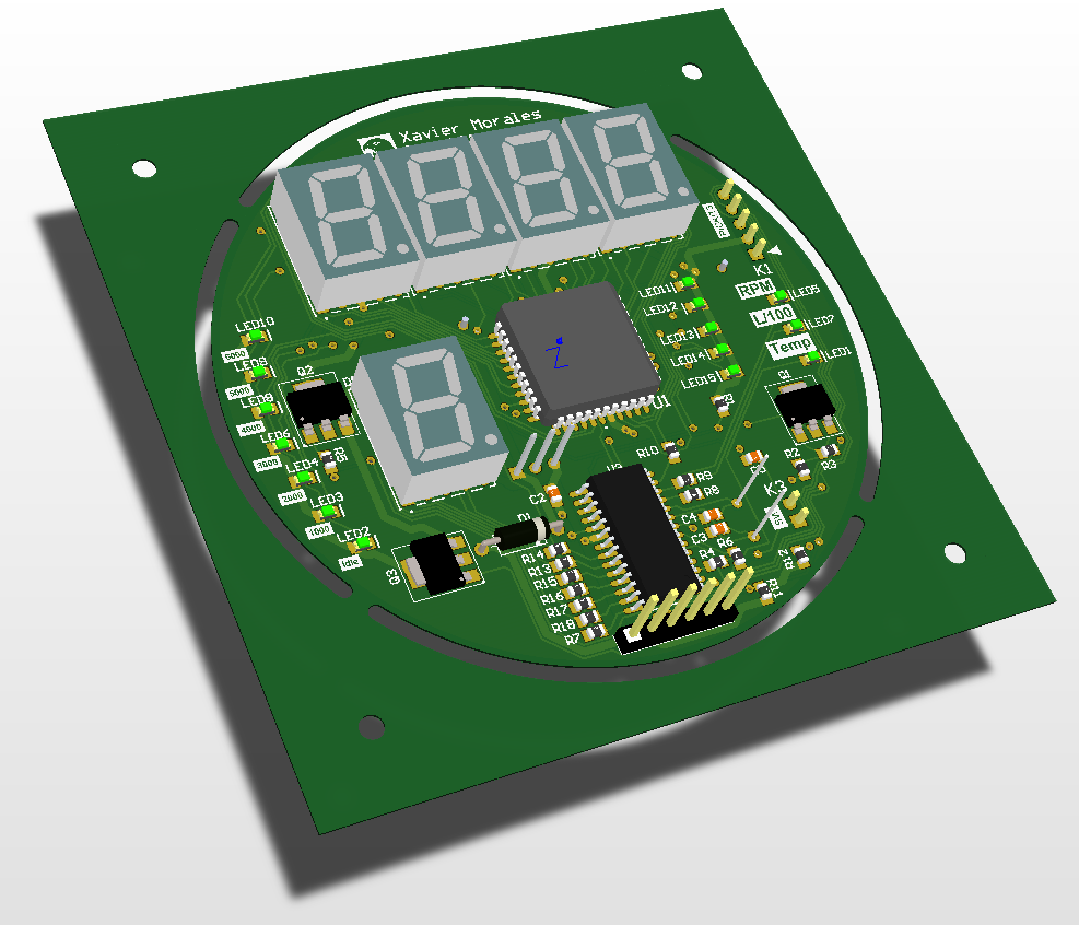 Content: PCB Side view  Harley tachometer. Source: Momex.cat